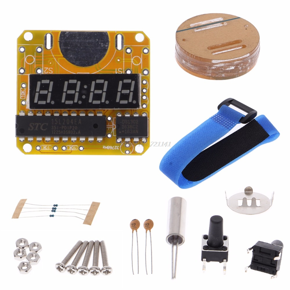Digital Watch Electronic Clock Kit Single-Chip Red LED Display with Transparent Cover Digital Watch DIY KitDigital Watch Electronic Clock Kit Single-Chip Red LED Display with Transparent Cover Digital Watch DIY Kit