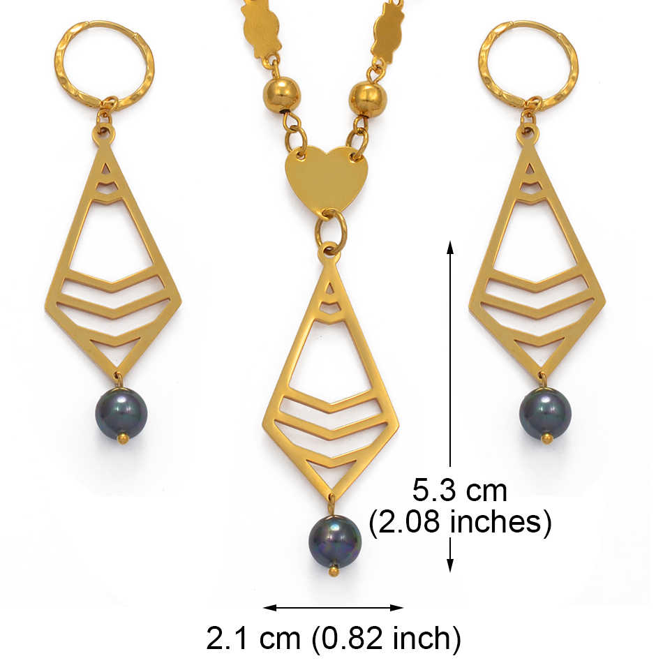 Anniyo Hawaiian Pearl Jewelry Set Necklaces and Earrings Women Girl Gold Color Micronesia Marshallese Guam Hawaii Party #102821
