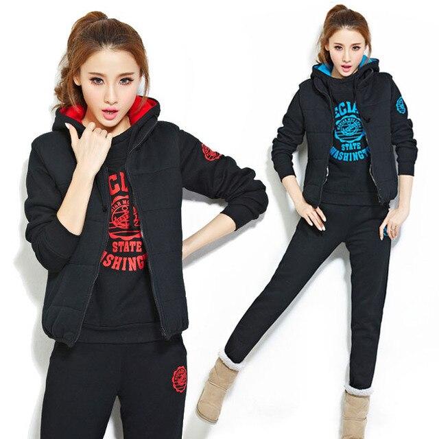 ce3ea3d76972d S-3XL free shipping women casual suits 2015 plus size winter 3-piece  survetement