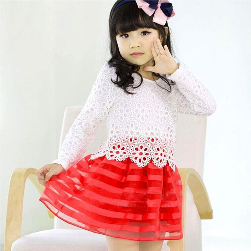 AMAYA girls clothes summer girl dress 2017 fashion princess dress lace flower girls dresses for party and wedding stripe for2-6Y spine lady 357 40