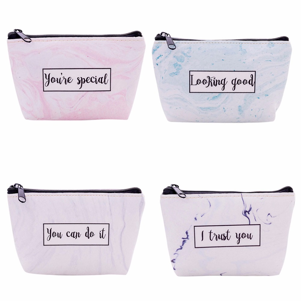 12x9cm Women Letter Printing Small Purse Makeup Cosmetic Bag Toiletry Case Travel Storage Organizer