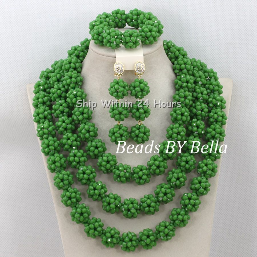 Luxury African Beads Bridal Jewelry Set 3 Rows Green Crystal Balls Necklace Set Women Costume Jewelry Set Free Shipping ABC990 luxury african beads bridal jewelry set 3 rows green crystal balls necklace set women costume jewelry set free shipping abc990