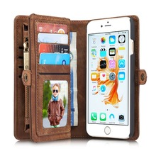 CaseMe 6S Luxury Genuine Leather Wallet Flip Phone Bags Cases Leather Capinha Coque Case for Apple iPhone 6S Plus Case 6 S Cover
