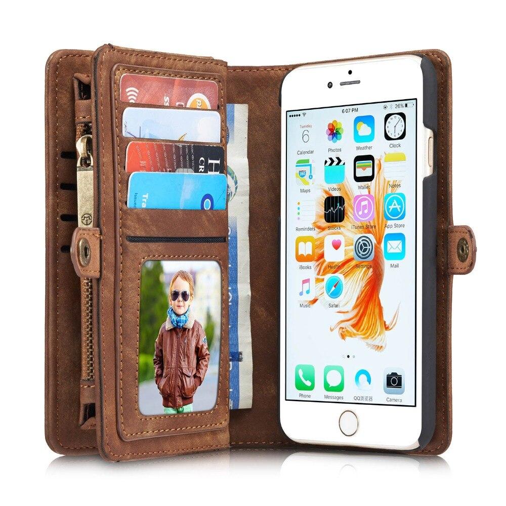 imágenes para CaseMe Funda Cartera de Cuero de Lujo para el iphone 6 7 Teléfono Flip casos de Cuero Caso para Apple iPhone 6 S Plus Caso Capinha Coque cubierta