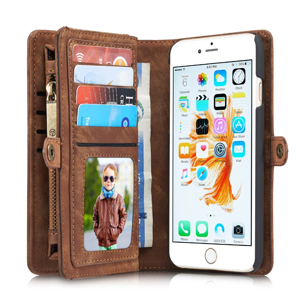 CaseMe Luxury Leather Wallet Case for iPhone 6 7 Flip Phone Cases Leather Capinha Coque Case for Apple iPhone 6S Plus Case Cover