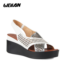 LIDIAN Women Summer sandals Breathable Female Shoes Ladies Slip On Flat Platform Sandals White Silver B75