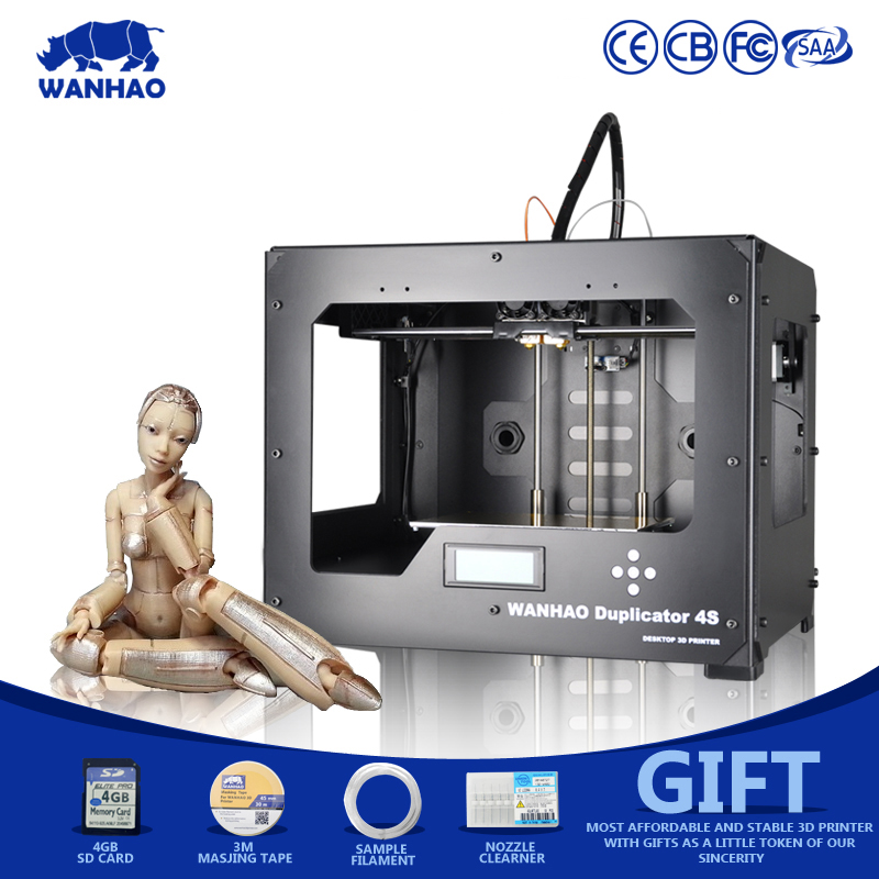 Affordable 3D printer,Wanhao D4S with dual extruder 3D Printer,assembly well with filament, SDcard hot sale wanhao d4s 3d printer dual extruder with multicolor material in high precision with lcd and free filaments sd card