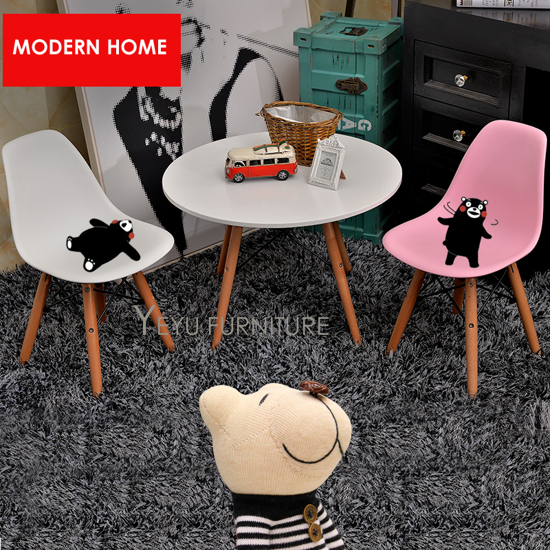 Kids Plastic Chair Wood Leg Children Chair Wood Legs wooden base baby chair Kids Dining Study play toy dining fashion Chair 2PC