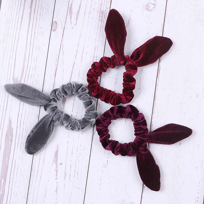 Women Girls Bunny Ears Scrunchie Hair Rope Velvet Hair Tie Bows Elastic Ponytail Holder Bands Hair Accessories Free Shipping