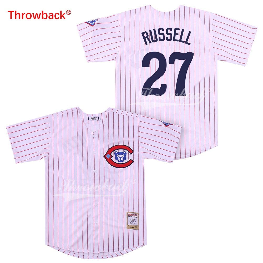 separation shoes ec930 70819 Throwback Jersey Men's Chicago Russell Jerseys Baseball Jersey White Grey  Cream Blue Shirt Fast Shipping Wholesale