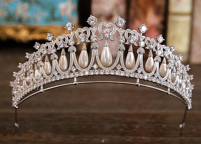Zircon Perle Princesse Couronne Mariée Diadèmes Et Couronnes Diadème De Mariage accessoires pour cheveux De Mariée Diadema Flores Tiara Noiva WIGO1056