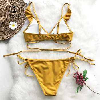 CUPSHE Yellow Ruffle Backless Bikini Sets Women Solid Falbala Tied Sexy Thong Two Pieces Swimwear 2020 Girl Beach Swimsuits 1