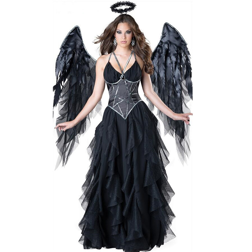 Sexy Devil Fallen Angel Costumes, classic Halloween party fancy dress black wings and black halo cosplay Carnival purim Costume