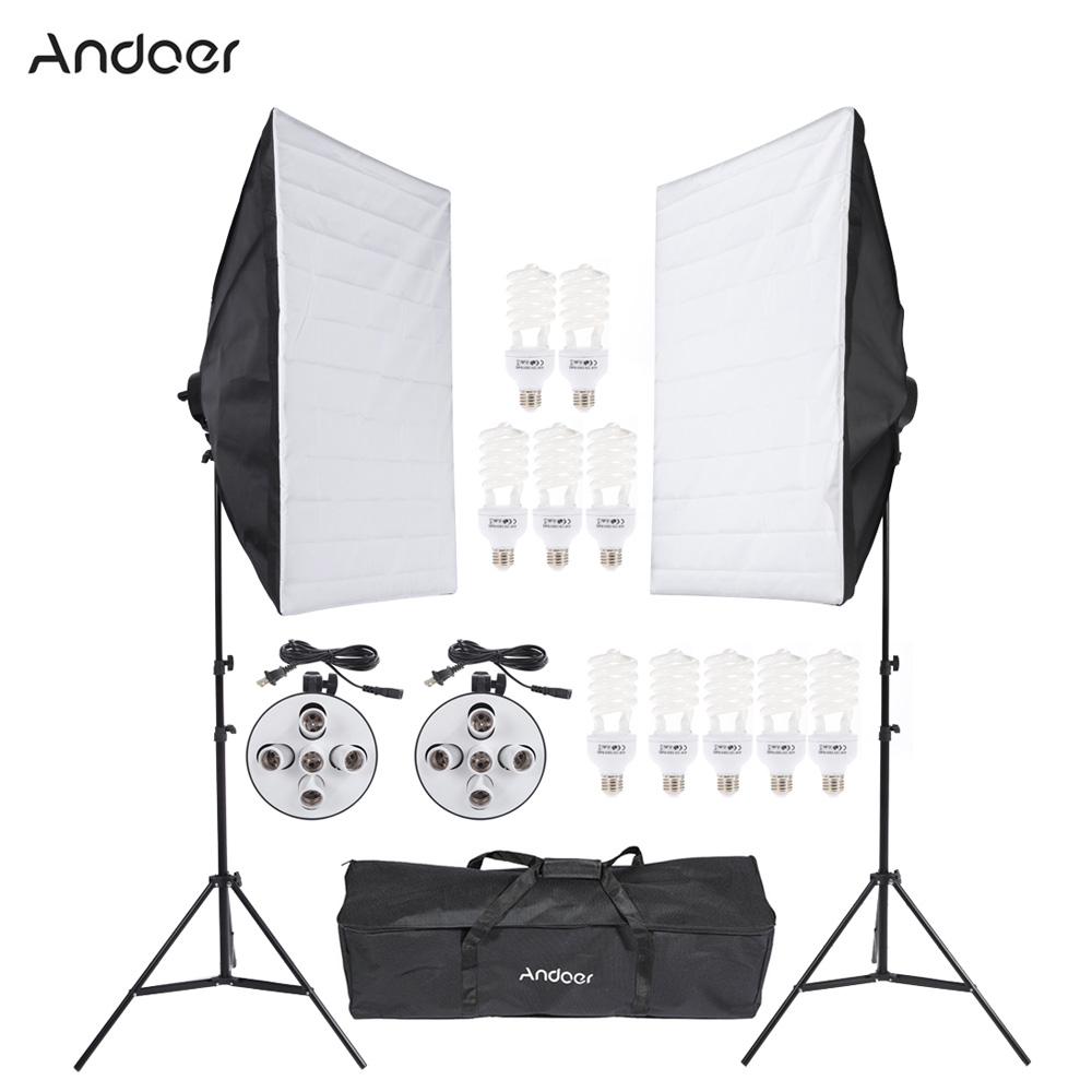 Andoer Photography Studio Light Lighting Tent Kit Photo Video Equipment Softbox Socket Bulb Tripod Stand Carrying
