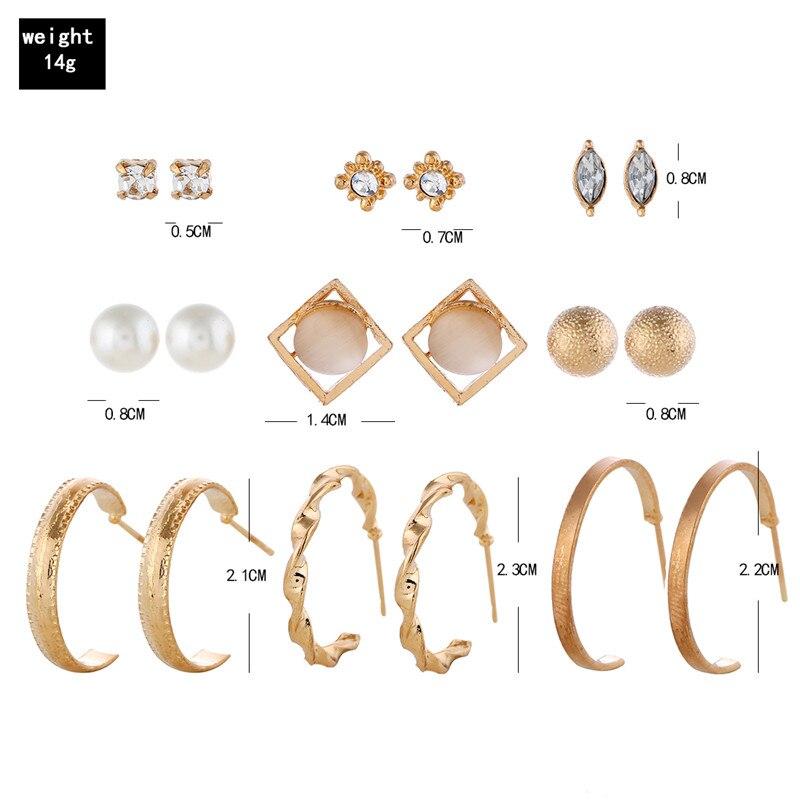 L H 9Pairs Creative Elegant Pearl Earrings Set Trendy Rhinestone Earrings For Women High Quality Round Square Female Earrings in Stud Earrings from Jewelry Accessories