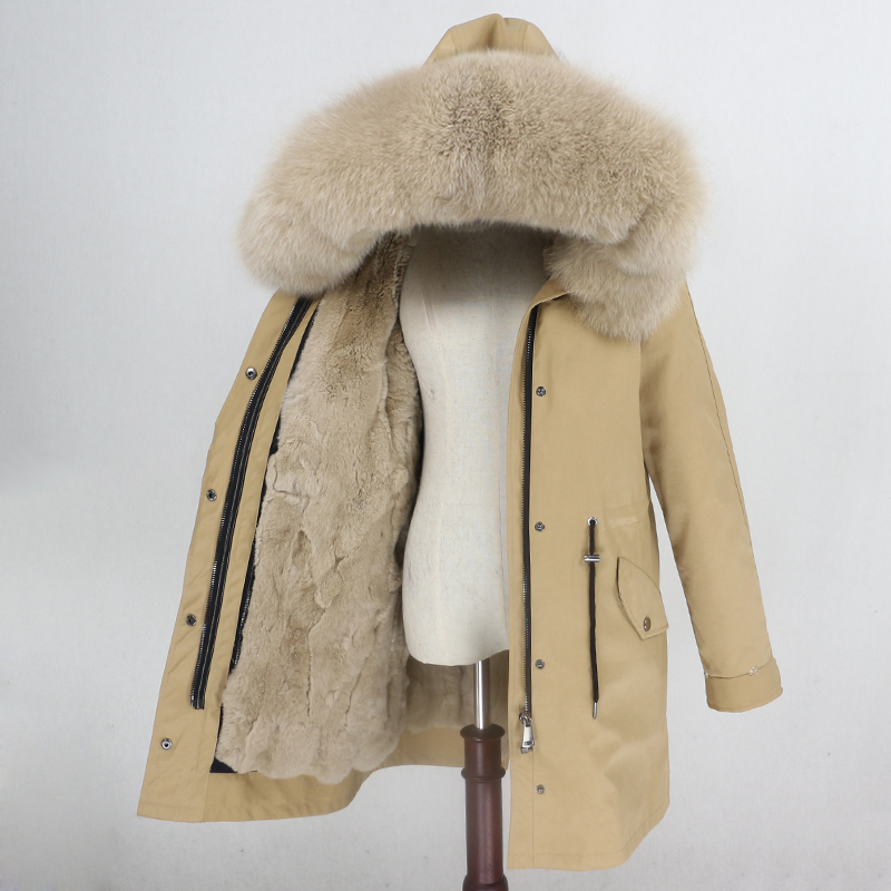 OFTBUY Waterproof Parka Winter Jacket Women Real Fur Coat Natural Fur Collar Hood Rabbit Fur Liner Long Outerwear Streetwear-in Real Fur from Women's Clothing    2