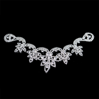 12x21cm Silver Color Waist Decoration More Shiny Stones Sewing On Crystal Rhinestones Applique
