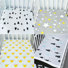EGMAO BABY 100% Cotton Crib Fitted Sheet Soft Baby Bed Mattress Cover Protector Cartoon Newborn Bedding For Cot Size 130*70cm(China)