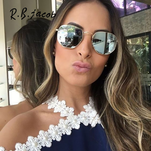 5de9045ec4b 2017 New femmes Italie Hommes lunettes de Soleil Miroir Lady Marque De Mode  Designer hexagone Soleil