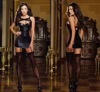 Hot Sexy Leather Lingerie Stripper Wear Black Latex Cat Costume Erotic Catsuit Pvc Beyonce Dress Sex