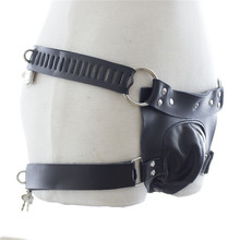 Men Chastity Belt Penis Restraint Pants PVC Leather 4 Locks Male Slave Sex Product