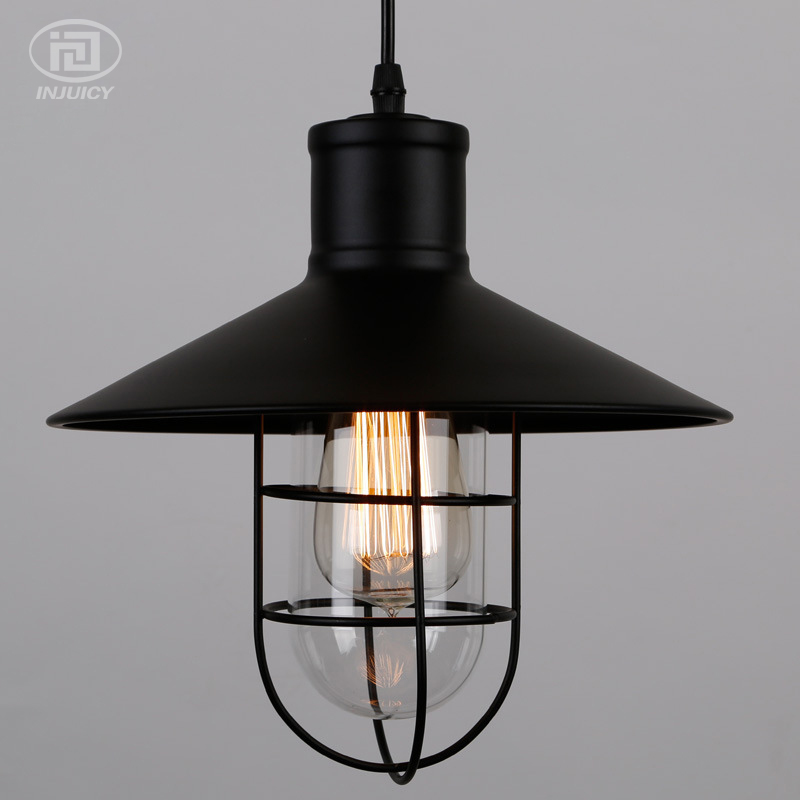 Loft Vintage Edison Pendant Lamp Industrial American Style Ceiling Light Iron Cage Coffee Shop Restaurant Glass Hanging Lamp loft edison vintage retro cystal glass black iron light ceiling lamp cafe dining bar hotel club coffe shop store restaurant