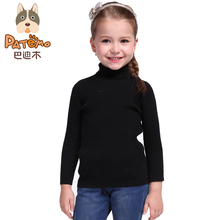 PATEMO Kids Girls Pullover Sweaters Turn-down Collar Cotton Children Sweater China-Imported-Clothes Solid Color Autumn&Winter