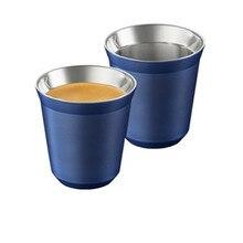 Kubki do Espresso 80ml 160ml zestaw 2, filiżanki do Espresso ze stali nierdzewnej, izolowane kubki do kawy i herbaty kubki z podwójnymi ściankami można myć w zmywarce