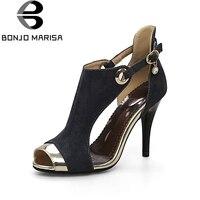 BONJOMARISA 2018 Yaz Sıcak Satış Artı Boyutu 32-44 Sandalet Kadın Zarif Süper Yüksek Topuklar Ayakkabı Kadın Metal Dekorasyon kadın Ayakkabı