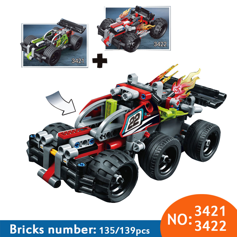 Decool Technic 2 in 1 warrior off-roader Race Car Model building block sets DIY bricks toys for children Compatible 42072 42073 электромобиль chien ti джип off roader черный