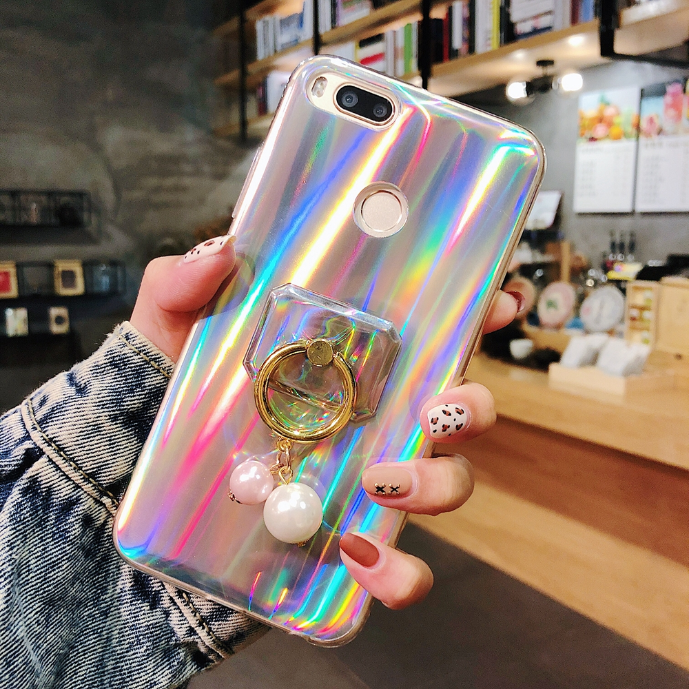 Phone Case For xiaomi 9 8se 6 pro A1 redmi s2 note 7 6a plus Luxury Fashion shiny Laser Aurora protection Anti fall cover cases in Fitted Cases from Cellphones Telecommunications