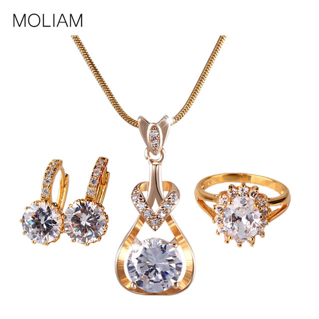 MOLIAM Wedding Jewelry Set for Brides Gold-Color Zirconia Crystal Earring Pendant Necklace Ring Sets MLE006a+MLP010a+MLR100
