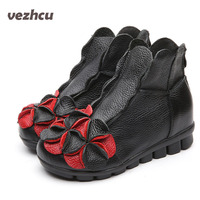 VZEHCU Women Autumn Boots Hand Made Shoes Women Flats Heels Ankle Boots Genuine Leather Warm Ankle