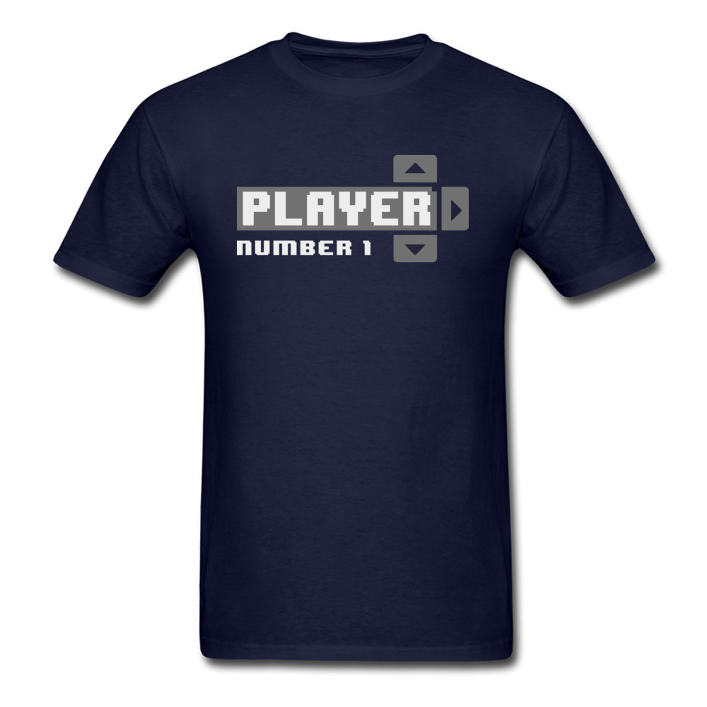 Player Number 1 All Cotton Tops T Shirt for Men Leisure T Shirt 3D Printed Prevailing O-Neck Tops Shirt Short Sleeve Player Number 1 navy