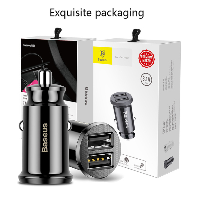 Baseus car charger Mini Dual usb car charger car-styling USB Charger for phone 2 Port USB Quick Car Charger for iPhone 7 Samsung