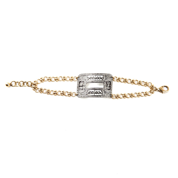 Big Geometric Charm Gold Color Extension Chain Rhinestone Inlay Women Vintage Punk Bracelet Cool Accessory