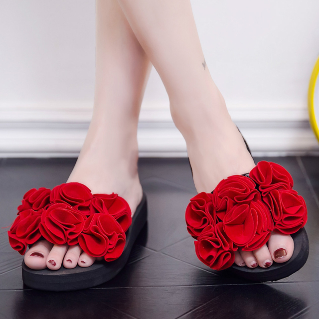 ddb9906415b Women Handmade Platform Sandals Summer Flip Flops Female Wedge Slippers  Flowers Beach Shoes Middle Heels EVA Non-Slip Red Shoes