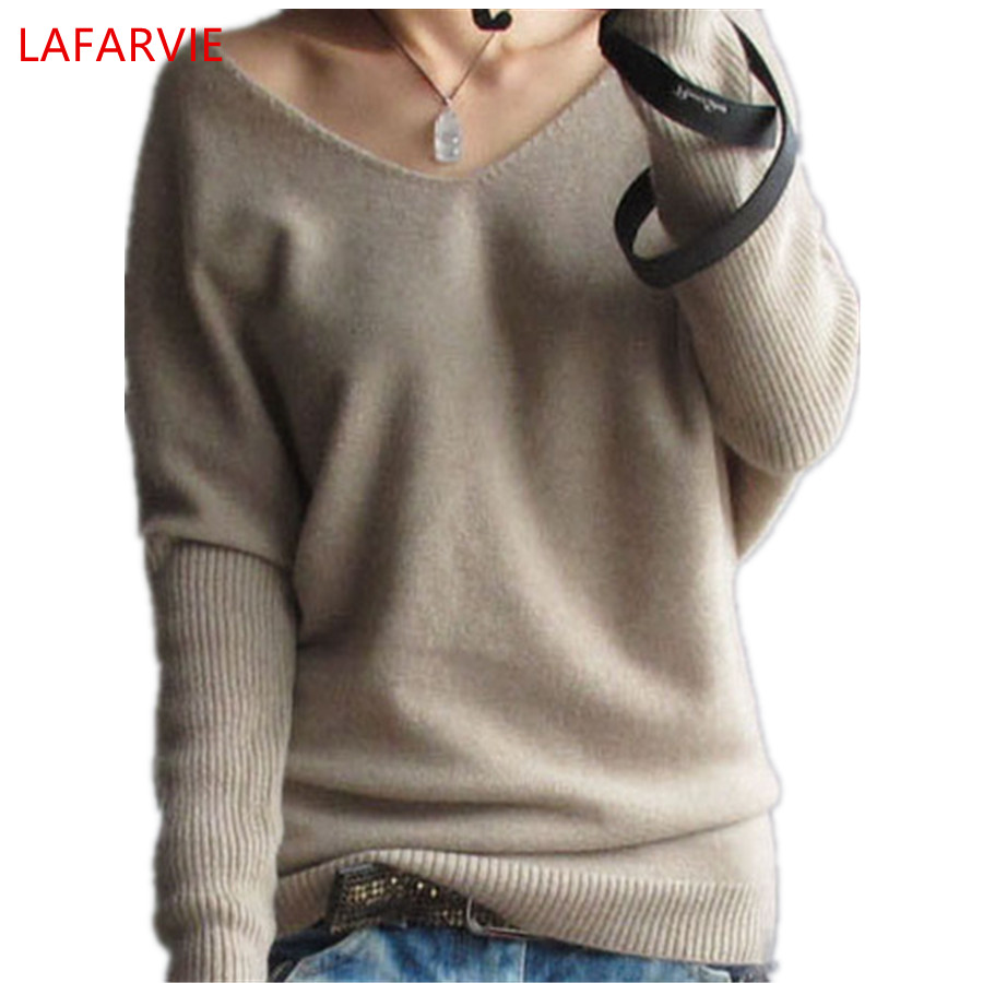 Hot Sale Mjuk och bekväm Bat-liknande Pullovers Kvinna Cashmere Sweater Pure Casual V-Neck Short Design Basic Stickade Pullovers