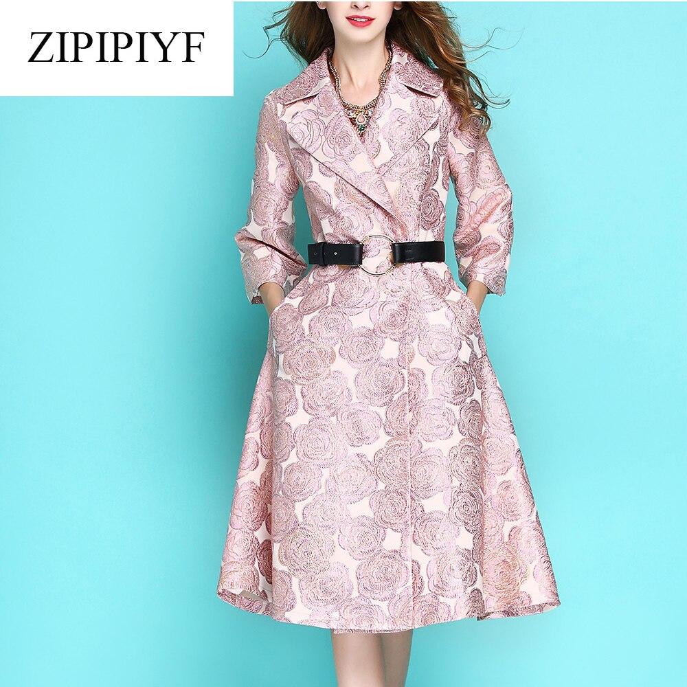 Здесь продается  ZIPIPIYF Floral embroidery satin trench coat Autumn winter street jacket women Casual jackets retro casual coat outerwear YN0002  Одежда и аксессуары