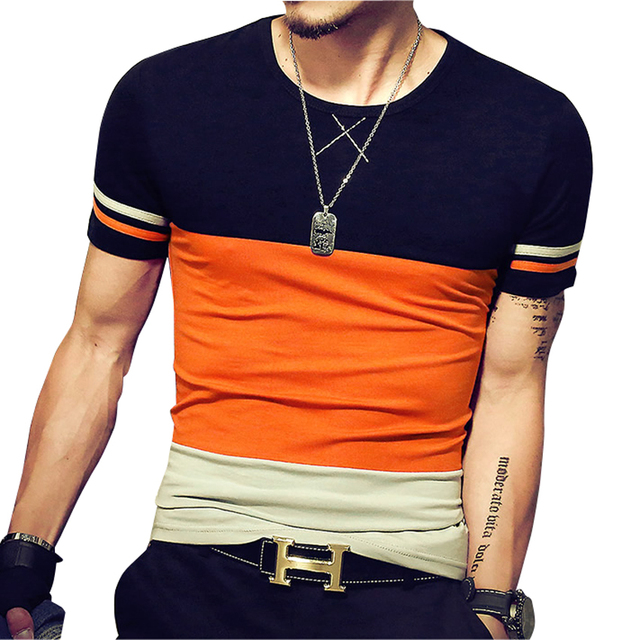 2017 Summer New Design Men T Shirt Fashion Patchwork Casual Short ...