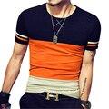 2017 Verão Novos Homens do Projeto T Camisa Moda Patchwork Ocasional Curto manga T Camisas Dos Homens De Alta Qualidade T-Shirt de Algodão Plus Size 5XL