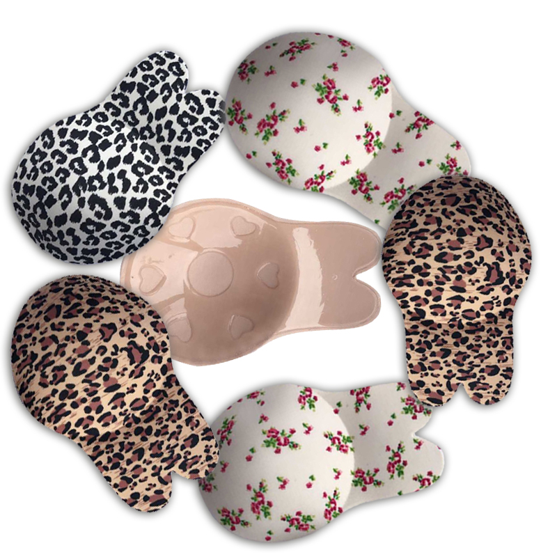 Sexy Leopard Lady Silicone Invisible Strapless Bra Support Stick On Bra Women Push Up Backless Bras Adhesive For Breasts