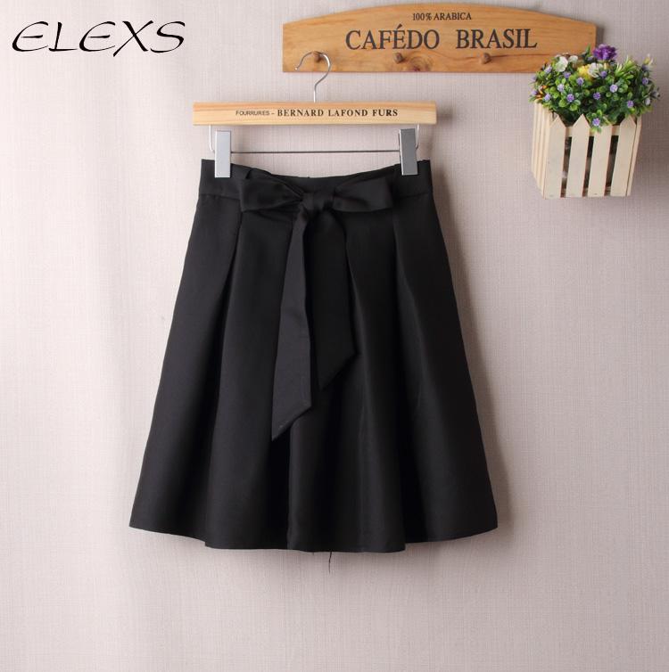 c4bd85cd9 ELEXS alta cintura dulce Tie Bow Faldas mujer elegante Vintage Midi una  línea falda Faldas Saia ...