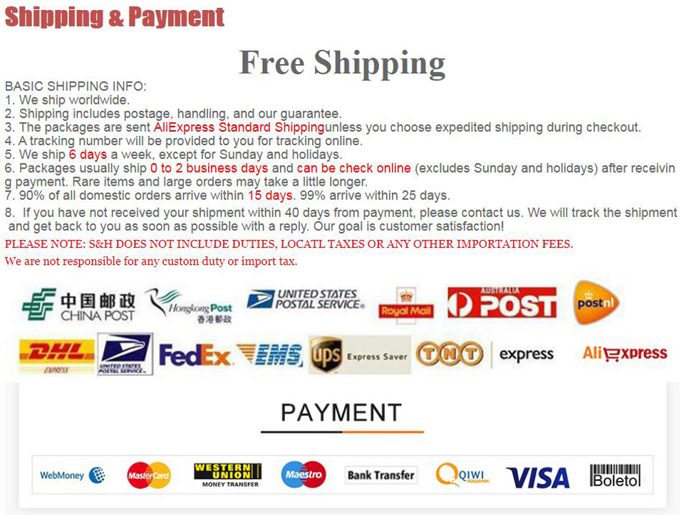 Free shipping Payment