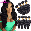 Rosa Hair Products Cambodian Virgin Hair Loose Wave 4 Bundles 7A Cambodian Loose Wave Curly Virgin Hair Extension Human Hair