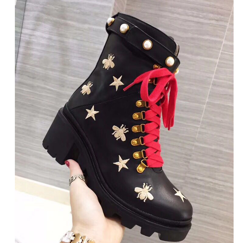 Genuine Leather Lace UP Ankle Boots Star Bee Embroidery Bead Studded Belt Buckle Strap Boots High Heels Women Martin Boots ботинки martin star