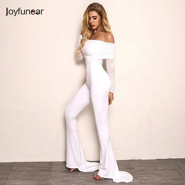 b5973d08164 Joyfunear New Autumn Off Shoulder Sexy Rompers Womens Jumpsuit Women Cotton Black  White Flares Long Sleeve Jumpsuits Overall
