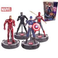 Marvel Original Avengers Action Figure LED Base Black Panther Captain America Iron Man Captain Marvel PVC Figure Doll