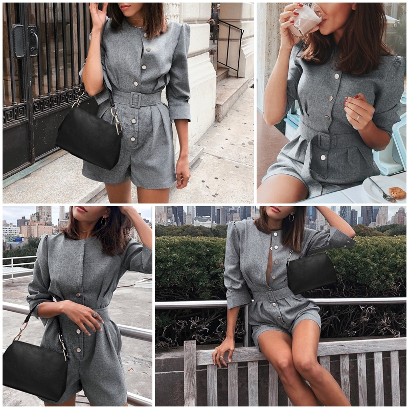 Gray Button Office One Piece Work Jumpsuit Romper 1