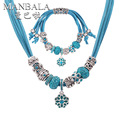 MANBALA Women Gift Rose Flower Pendant Necklace Bracelet Unique Design Antique Silver Plated Romantic Vintage Jewelry Sets 900AJ